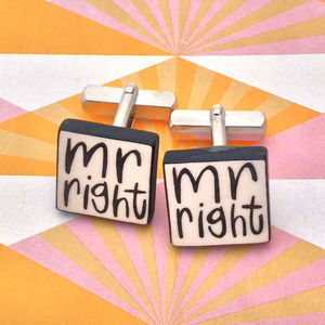 'Mr Right' Wedding Cufflinks - groomed to perfection