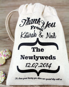 Personalised Wedding Message Favour Bag - wedding favours