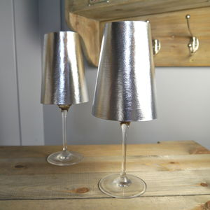 Metallic Wine Glass Shade - votives & tea light holders