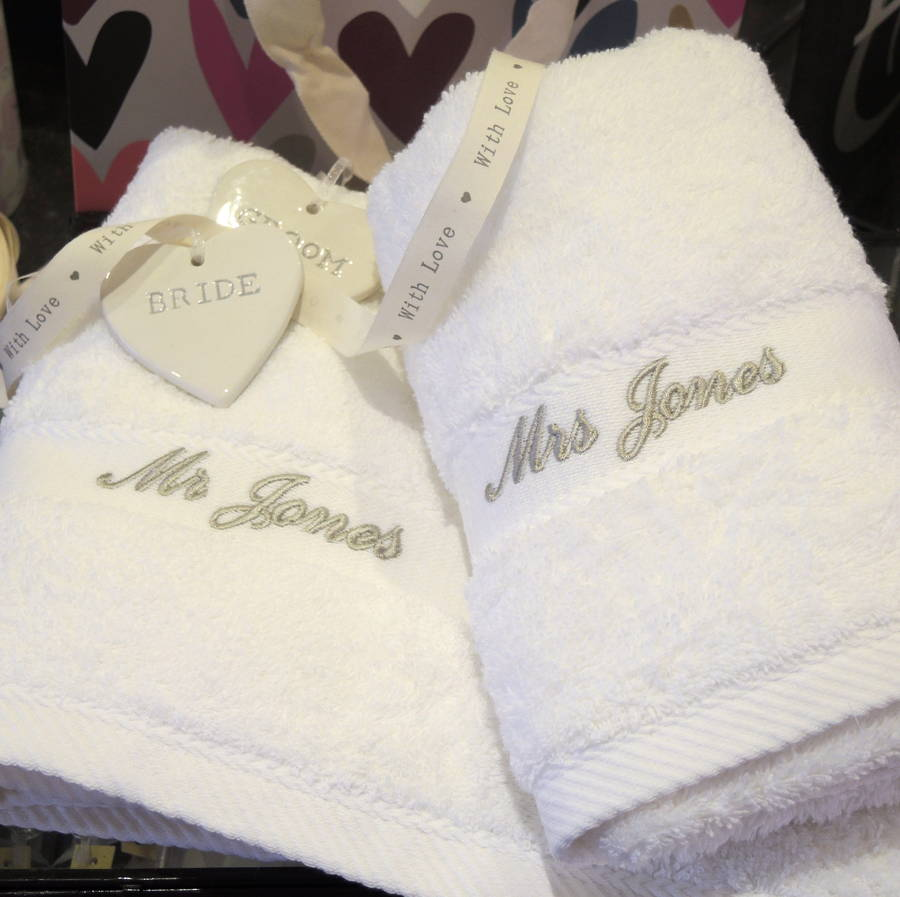 Personalised Wedding Gifts Towels : mr and mrs personalised wedding towels by the alphabet gift shop ...