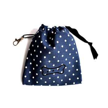 Blue Dotty Bone Treat Pouch
