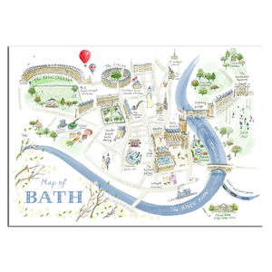 Alice Tait 'Map Of Bath' Print