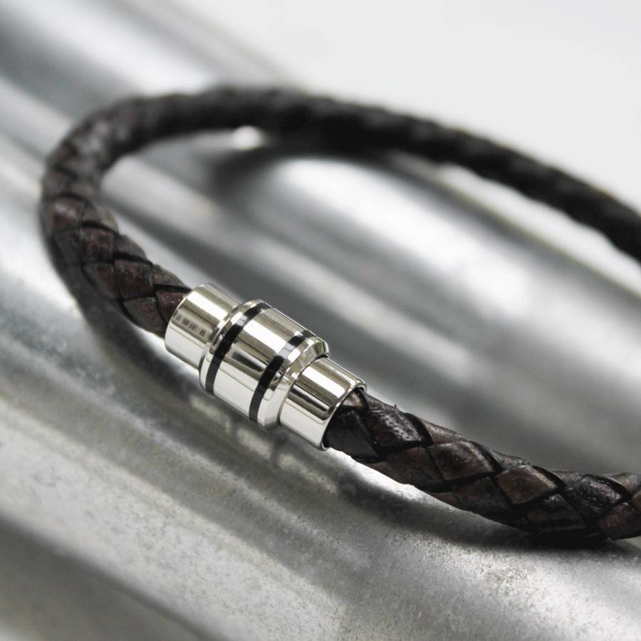 Mens Leather Bracelet With Modern Clasp