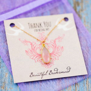 Gemstone Thank You Bridesmaid Necklace