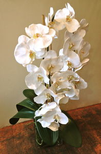Artificial Double White Orchid