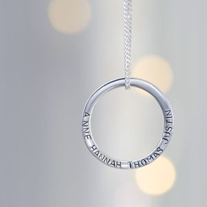 Personalised Silver Eternity Hoop Necklace - gifts for mothers