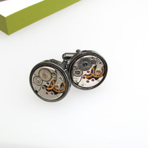 Vintage Watch Movement Gunmetal Cufflinks