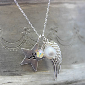 Personalised Angel Wing And Star Charm Necklace - charm jewellery