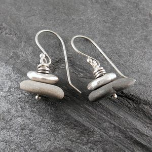 Beach Pebble And Silver Stack Earrings, Short - earrings