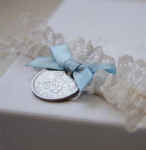 Lucky Sixpence Wedding Garter - something blue