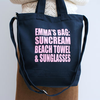 Personalised Canvas Gym Or Beach Bag