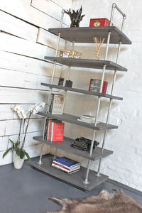 Dante Reclaimed Scaffolding Boards And Steel Bookcase - living room