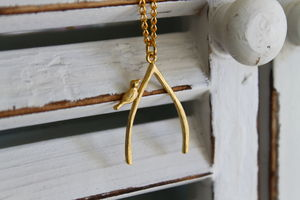 Gold Plated Wishbone Necklace - charm jewellery