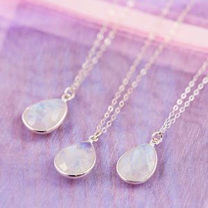 Moonstone/Rock Crystal Bridesmaid Necklace Set - necklaces & pendants