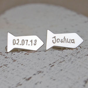 Silver Personalised Tie Shaped Cufflinks - cufflinks