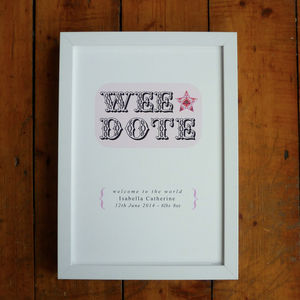 Personalised 'Wee Dote' Irish Baby Girl Print - baby's room