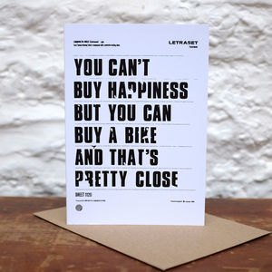 'You Can't Buy Happiness' Greetings Card
