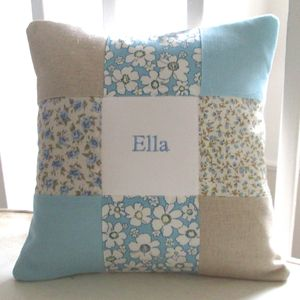 Blue Floral Name Cushion - soft furnishings & accessories
