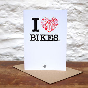 'I Heart Bikes' Greetings Card