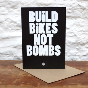 'Build Bikes Not Bombs' Greeting Card - all purpose cards, postcards & notelets