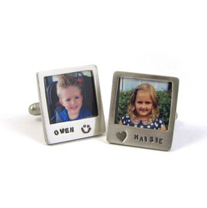 'Say Cheese' Silver Polaroid Photo Cufflinks - cufflinks