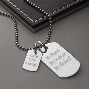 Men's Sterling Silver Double Dog Tag Necklace - personalised jewellery