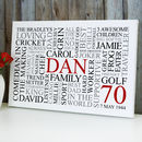 Personalised 70th Birthday Word Art