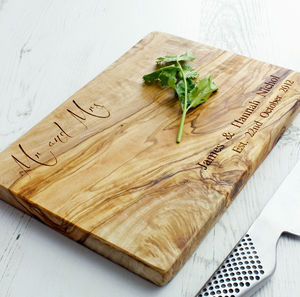 'Mr And Mrs' Olive Wood Chopping Board - 5th anniversary: wood