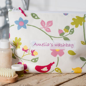 Personalised Floral And Bird Washbag - make-up & wash bags