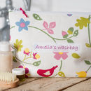 Personalised Floral And Bird Washbag