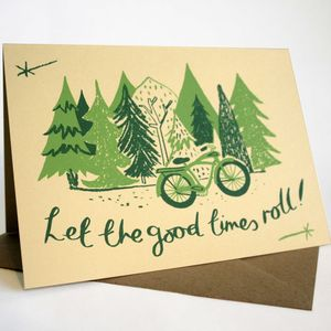 'Good Times Roll Hand Printed Card - leaving cards