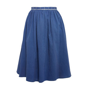 Cobalt Blue Cotton Midi Waist Detail Skirt - skirts