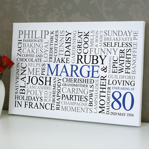 Personalised 80th Birthday Word Art - children's room
