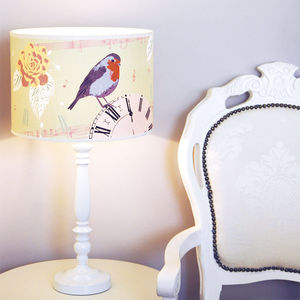 Clock And Robin Vintage Lampshade
