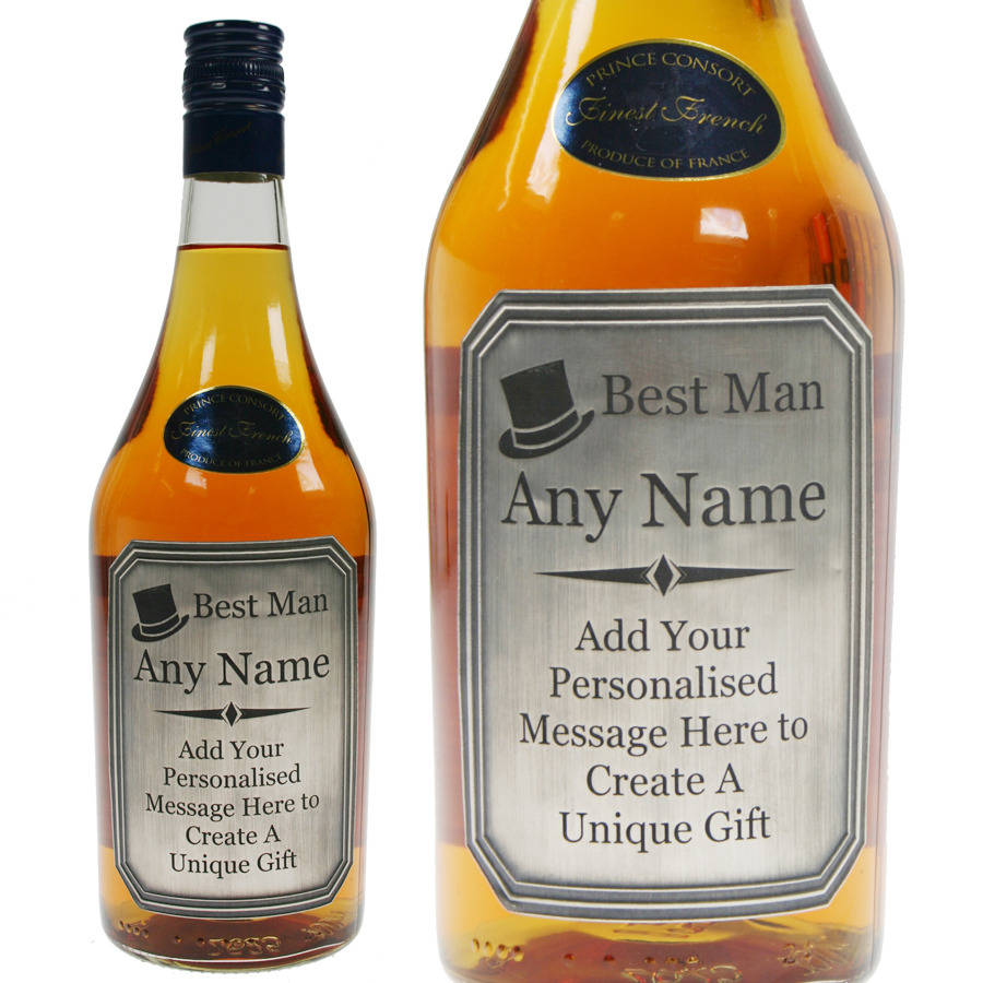 Best Man Brandy With Engraved Pewter Label