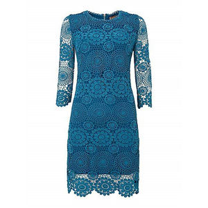 Blue Crochet Three/Four Sleeve Lace Tunic - best-dressed guest