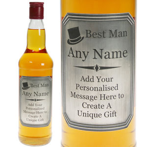 Best Man Single Malt Whisky With Engraved Pewter Label - whisky