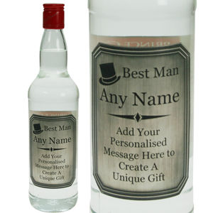 Best Man Vodka Gift With Engraved Pewter Label - vodka