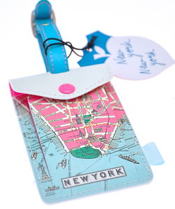 New York Map Design Luggage Tag - passport & travel card holders