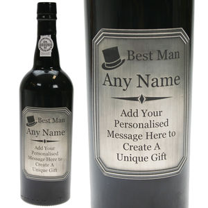 Engraved Best Man Lbv Port Gift With Pewter Label - sherry & port
