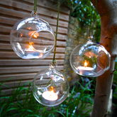 Set Of Three Hanging Tealight Bubbles - garden