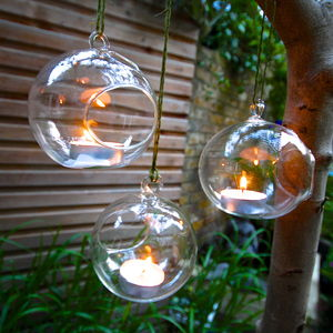 Set Of Hanging Tealight Bubbles - outdoor decorations