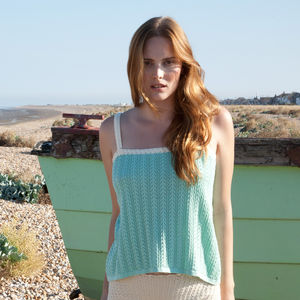 Mint Strappy Crochet Detail Top - luxury fashion