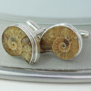 Ammonite Sterling Silver Cufflinks Lighter - cufflinks