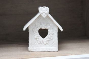 Lace Porcelain Bird House Tea Light