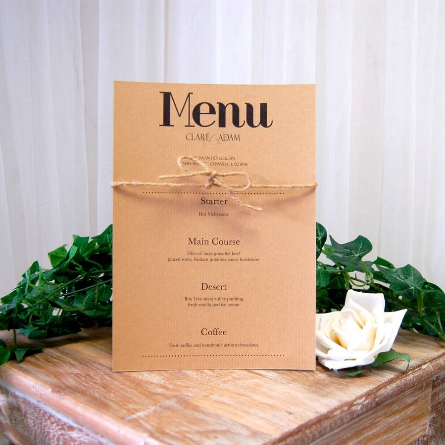 vintage print wedding breakfast menu by made with love designs ltd notonthehighstreetcom