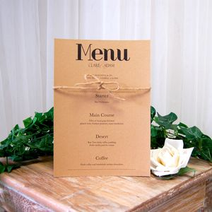 Vintage Print Wedding Breakfast Menu