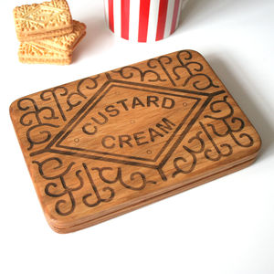 Giant Custard Cream Wooden Coaster - tableware