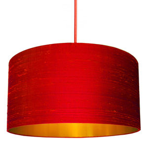 Silk Dupion Lampshade In Scarlet With Gold Lining - lighting