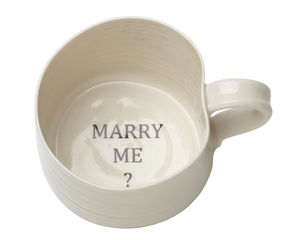 'Marry Me?' Hand Thrown Porcelain Mug - proposal ideas